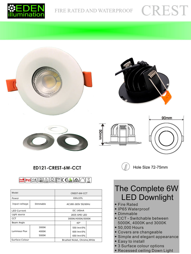 Crest Down Light - 6W Fire Rated, IP65, CCT, Dimmable,  SMD LED, 40 Degree