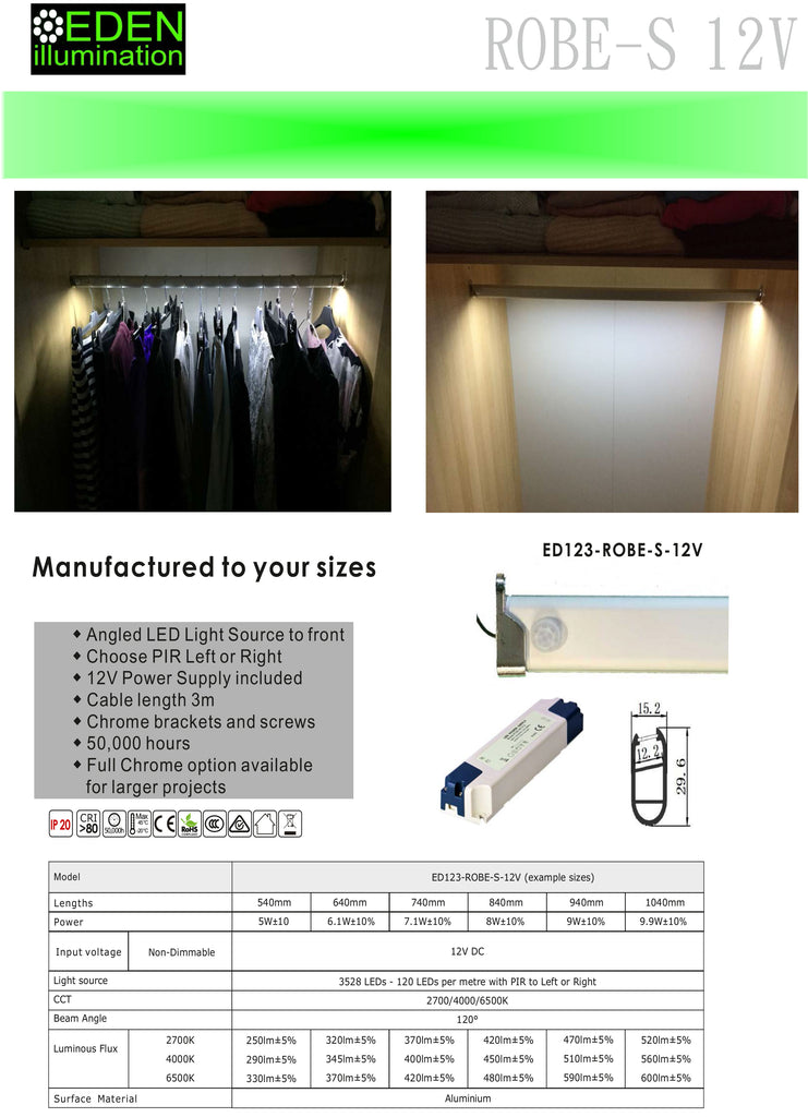 Angles LED Wardrobe Rail
