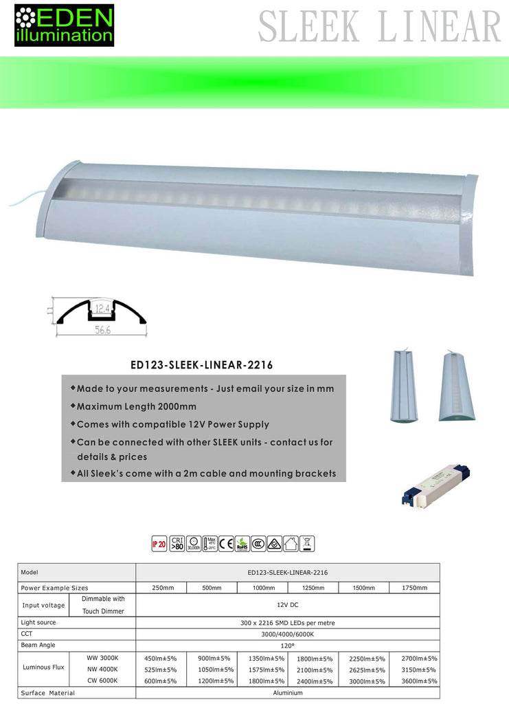 SLEEK LINEAR - LED Under cabinet kitchen light from Eden illumination