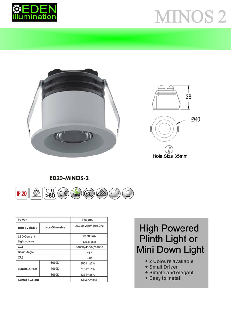 Mino 2 3W Mini Downlight