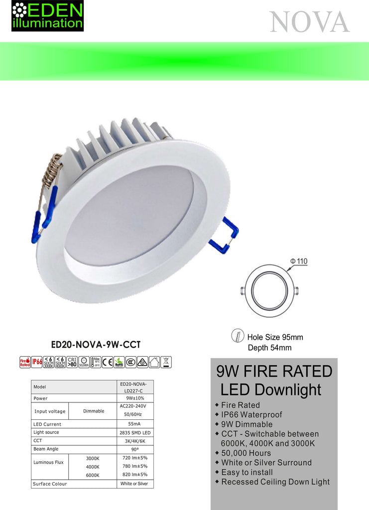 Nova LED Down Light - White 9W CCT