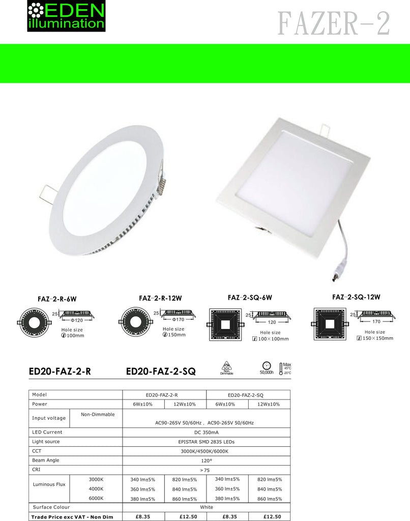 6W Mini Panel LED Down Lights Datasheet - Round