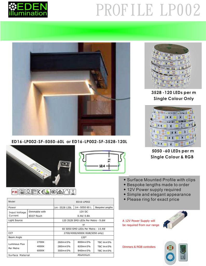 Surface mounted LP002 LED Profile with 5050 LEDs for Eden illumination