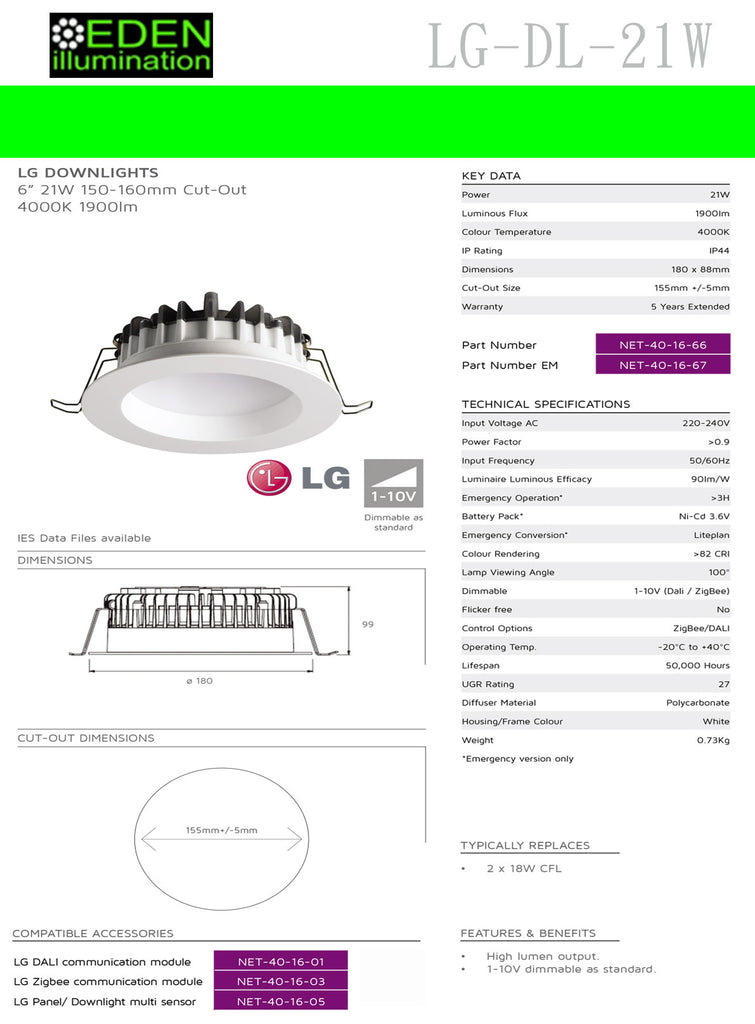 LG 21W LED Down Light - Eden illumination