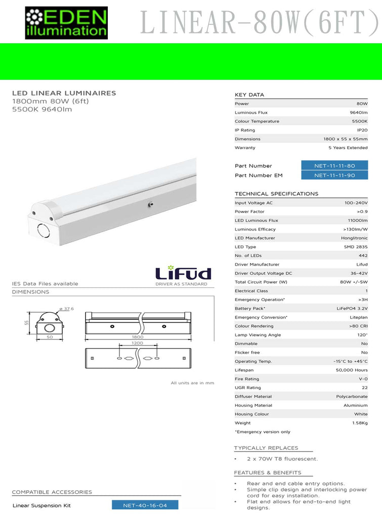 80W Linear Luminaire from Eden illumination