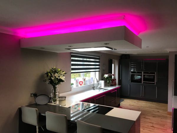 LED RGB Strip in various Kitchen locations from Eden illumination
