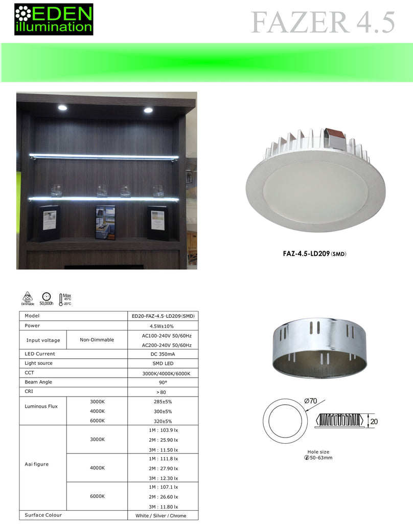 4.5W LED Down Light, recessed or surface mounted from Eden illumination