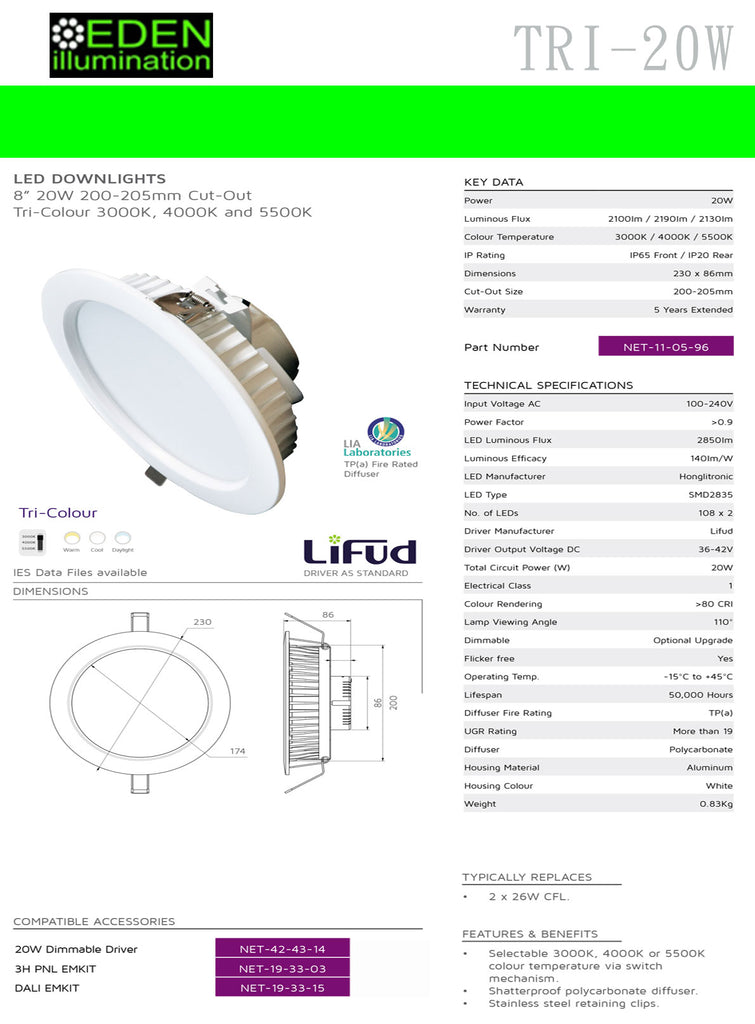 20W TRI LED Down light 11 05 96 Eden illumination