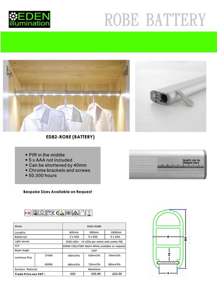 LED Wardrobe Rail 5 AAA Battery Version