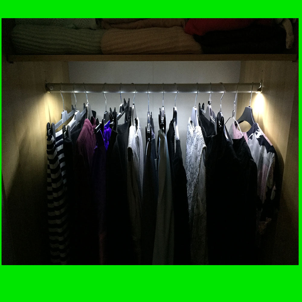 Angled LED Wardrobe Lights - 9.6W 120 LEDs - Bespoke lengths PIR to Right -12V - Eden illumination - LED Lighting & Kitchen Lighting - Fife, Scotland