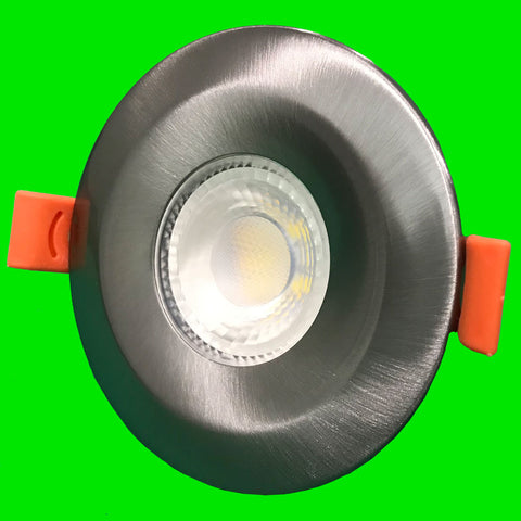 Crest Down Light - Brushed Chrome Bezel - 6W Fire Rated, IP65, CCT, Dimmable,  SMD LED, 38 Degree