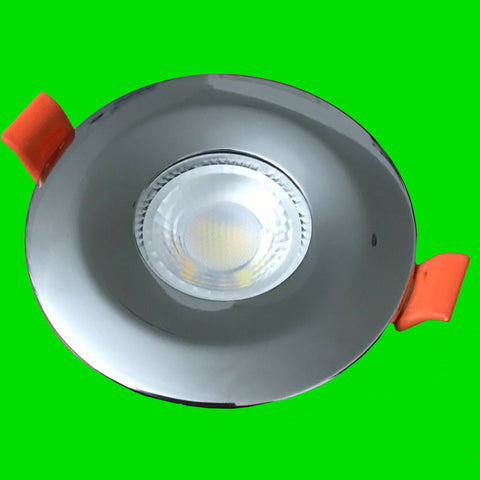 Crest Down Light - Polished Chrome Bezel - 6W Fire Rated, IP65, CCT, Dimmable,  SMD LED, 38 Degree
