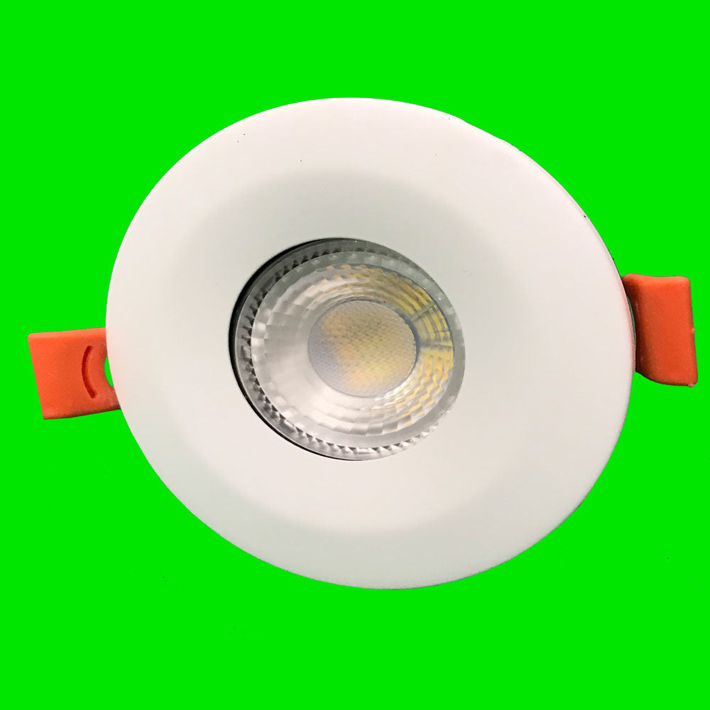 60 Pack - Crest Down Light - White Bezel - 6W Fire Rated, IP65, CCT, Dimmable,  SMD LED, 38 Degree - Eden illumination - Kitchen Lighting & Commercial Lighting