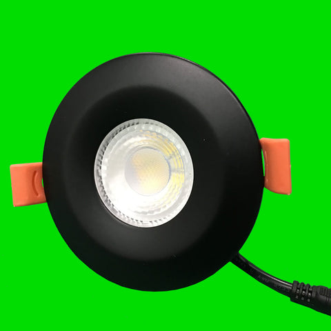 Crest Down Light - Black Bezel - 6W Fire Rated, IP65, CCT, Dimmable,  SMD LED, 38 Degree