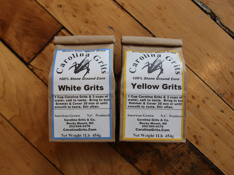 Carolina Grits Company Stone Ground White Grits and Yellow Grits.  gluten free and whole grain.  Made in Rocky Mount, North Carolina.