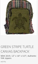 Bags- Cotton Graphic Turtle Backpack