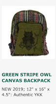 Bags- Cotton Graphic Owl Backpack