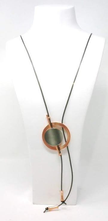 Necklaces- Leather Long Necklace With pendant