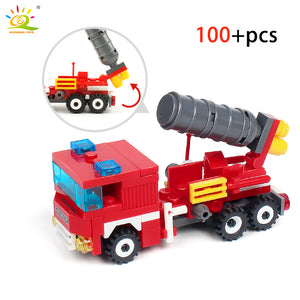 Fire Fighting 4in1 Trucks Car Helicopter Boat Blocks compatible legoingly City Firefighter Bricks