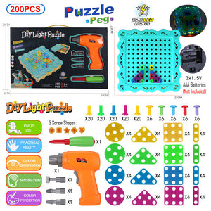 Drilling Screw 3D Creative Mosaic Puzzle Toy Building Bricks DIY Electric Drill Set Educational Toy