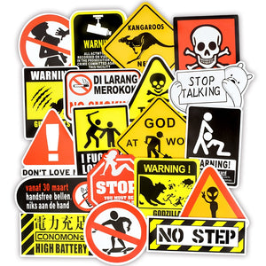 Warning Danger Banning Signs Reminder Waterproof Decal Sticker Laptop Motorcycle Luggage Snowboard