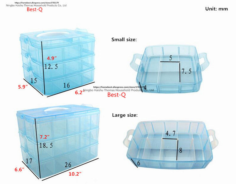 3 Layers 30 Grid Removable Storage Box Covered Storage Box King Tights Toy Lego Plastic Storage Box