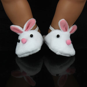 New Arrival Cute Withe Felt Slippers For 17inch Zapf Baby Dolls 43cm Born  Doll Accessories
