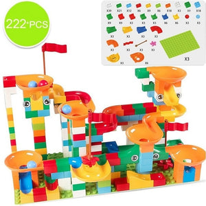 74-296 PCS Marble Race Run Block Compatible LegoINGlys Duploed Building Blocks Funnel Slide Blocks