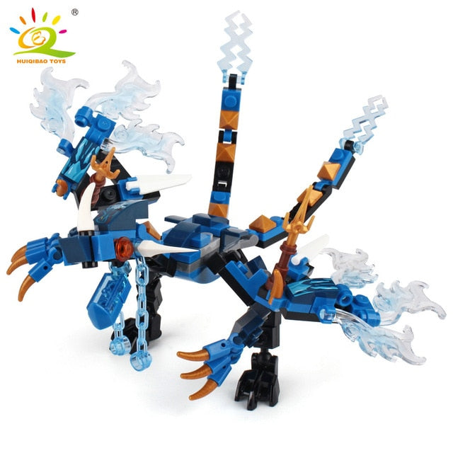 115pcs Ninja Dragon Knight Model Building Blocks Compatible Legoingly Kai Jay Zane Figures Bricks