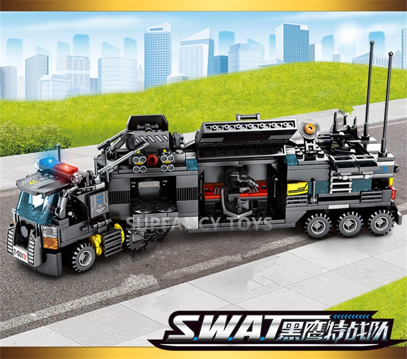 City Police SWAT Truck Building Blocks Sets Ship Vehicle LegoINGs Technic DIY Bricks Playmobil