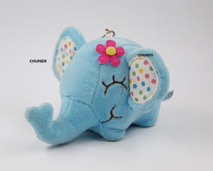 Middle 12cm 5colors Cute Elephant Stuffed Animal Plush Toys Small Kid's Key Chain Toys Dolls
