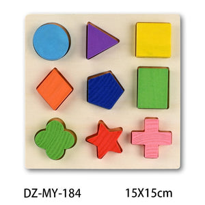 Colorful 3D Wooden Puzzle Geometry Shape Cognition Early Learning Educational Montessori Toys