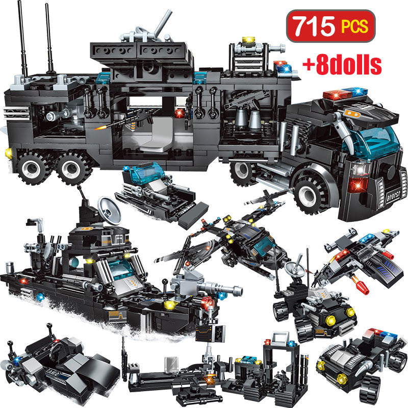 715pcs City Police Station Building Blocks Compatible Legoingly City SWAT Team Truck Blocks