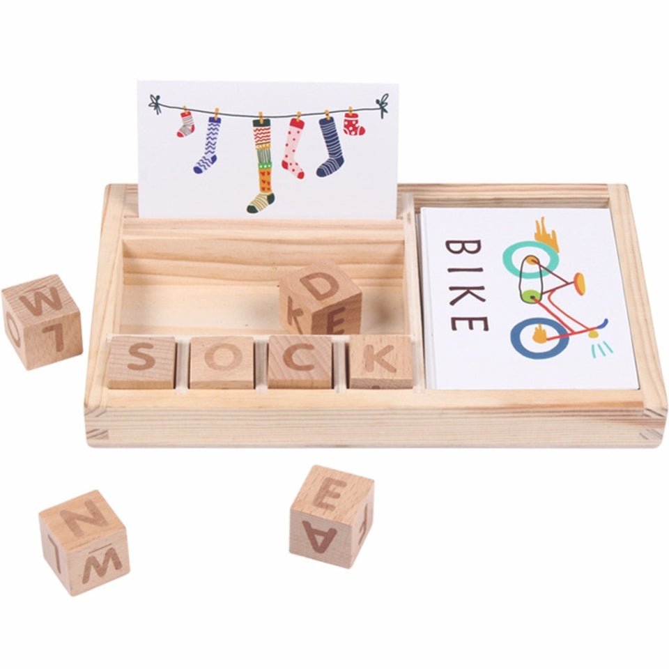 Wood Spelling Words Game Kids Early Educational Toys for Children Learning Wooden Toys Montessori