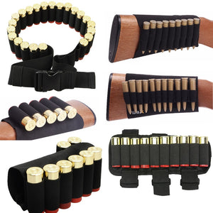 Nylon Bullet Bag Buttstock Hunting Ammo Pouch Tactical Military Airsoft Shell Holder Cartridges