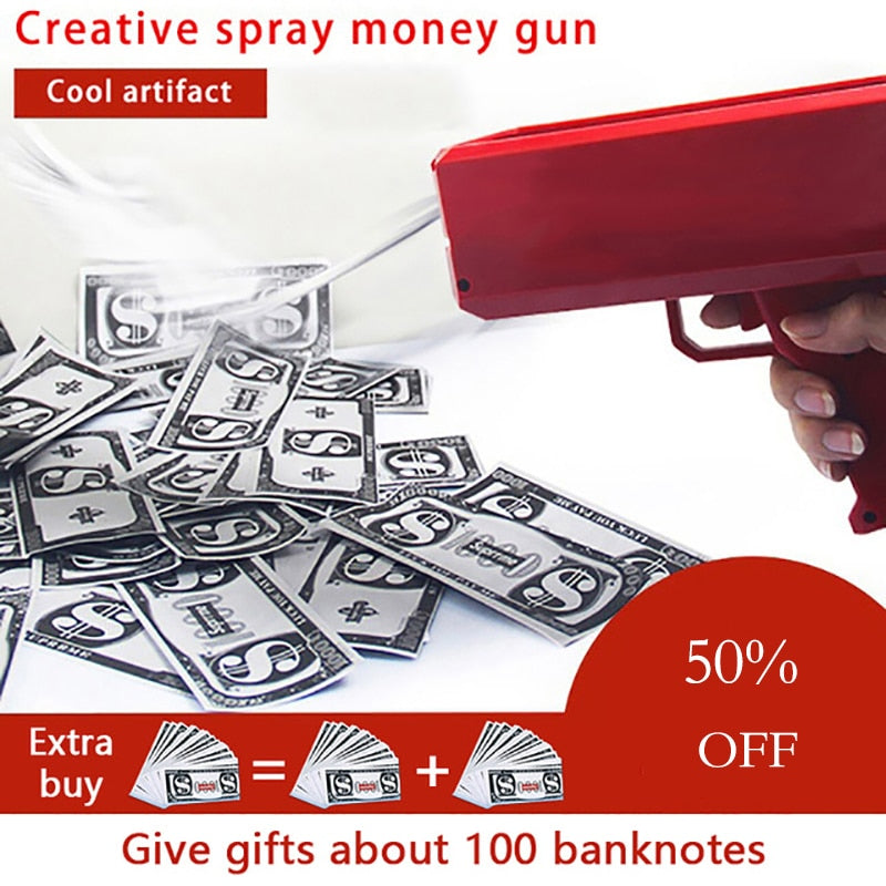 Make It Rain Money Gun Red Pink Party Gun Toys 100PCS Cash Fashion Money Bubble Column For Package