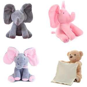 30cm Peek-a-boo Plush Peekaboo Elephant Electric Blinking With Concert Singing Grey Pink Upgraded Version Doll