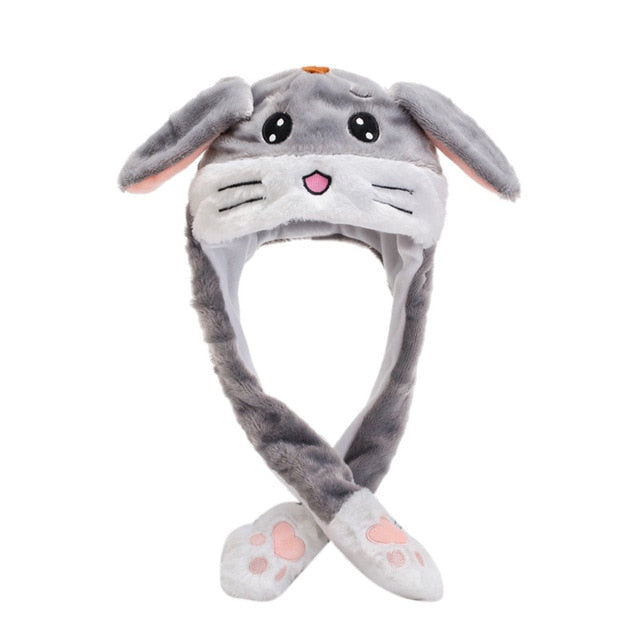 Kocozo Rabbit Hat with Moving Ears Cute Cartoon Toy Hat Airbag Kawaii Funny Toy Cap Kids Plush Toy
