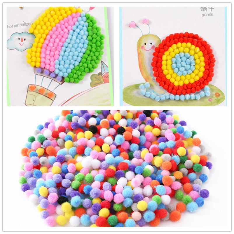 500Pcs 10mm Soft Round Fluffy PomPoms Ball Mixed Color DIY Decoration 200Pcs 1.5cm