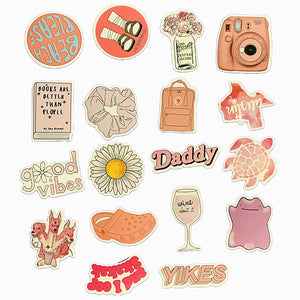 Cartoon Pink INS Style Vsco Girl Stickers For Moto Skateboard Luggage Refrigerator Notebook Laptop