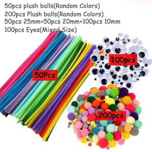 Plush Stick / Pompoms Rainbow Colors Shilly-Stick DIY Toys Handmade Art Craft Creativity Devoloping