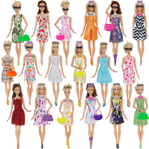 Doll Accessories Shoes Necklace Glasses Crowns Handbags Doll Dress Clothes for Barbie Doll