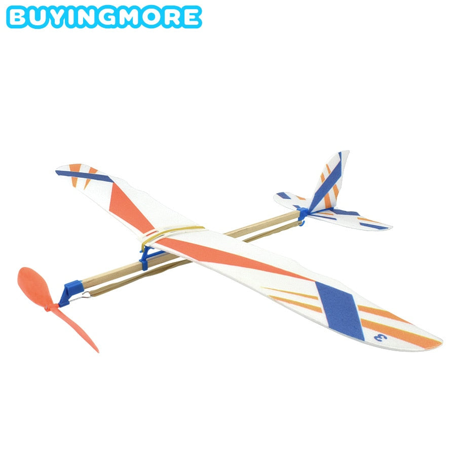 DIY Kids Toys Rubber Band Powered Aircraft Model Kits Foam Plastic Assembly Planes Model Science