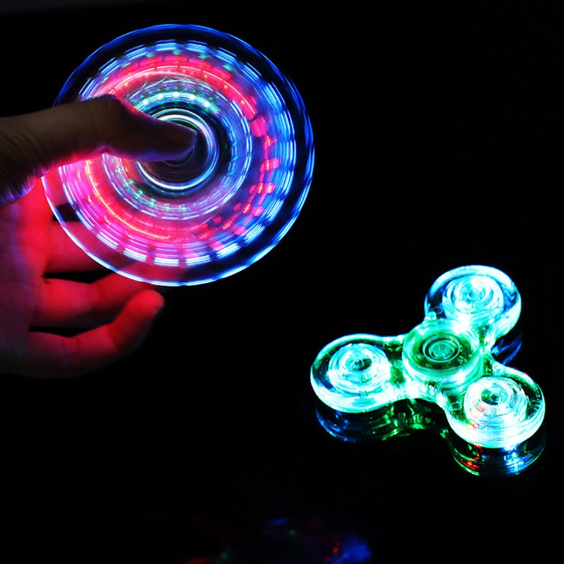 Luminous LED light Fidget Hand Spinner Glow in Dark Light EDC Batman Finger Stress Relief Toys