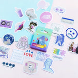 Cute Vaporwave Label Kawaii Diary Handmade Adhesive Paper Flake Japan Sticker Scrapbooking Stationery Stationery