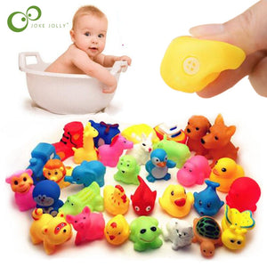 Cute Animals Swimming Water Toys Colorful Soft Rubber Float Squeeze Sound Squeaky Shower Bath Toy