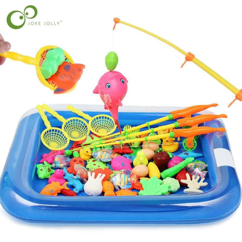 Fishing Toy Set Suit Magnetic Play Water Baby Toys Fish Square Baby Toddler Shower Bathing Toys