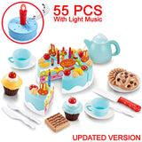 DIY Cake Toy Kitchen Food Pretend Play Cutting Fruit Birthday Toys Cocina De Juguete Pink Blue