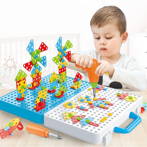 Drill Screw Nut Puzzles Toys Pretend Play Tool Drill Disassembly Assembly Children Drill 3D Puzzle