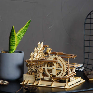 Robotime Rokr 4 Kinds Marble Run Game DIY Waterwheel Wooden Model Building Kits Assembly Toy Gift
